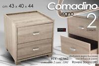 COMODINO 2 CASSETTI H44*43*40 ROVERE SBIANCATO TCC 623462