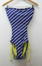 JUICY COUTURE Ladies Blue Strapless Striped Bandeau Monokinis Size L BNWT