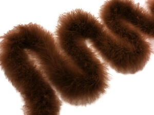 2 Yards - Dark Brown Turkey Medium Weight Marabou Feather Boa 25 Gram Costume