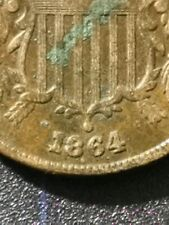 More details for 1864 usa 2 cent mint error coin, vf - xf details