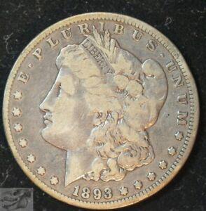 1893 CC, Key Date Morgan Silver Dollar, Fine+ Condition, Rare Dollar, C4761
