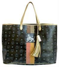 Authentic MCM Black Coated Canvas Leather Princess Lion XL Tote Bag W/ Tassel