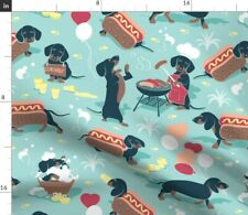 Dog Barbecue Lemonade Dachshund Hot Dogs Fabric Printed by Spoonflower Bty