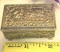 "Vintage Silverplated Cherubs & Angel Hinged Trinket Jewelry Box Velvet Lined 2""w"