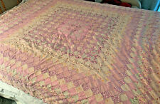 Antique Quilt; Pink Fabrics w Muslin Back; See Closeups; Hand Stitched?