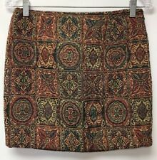 Love 21 Womens Size Small Skirt Beige Red Green Blue Tapestry Lined
