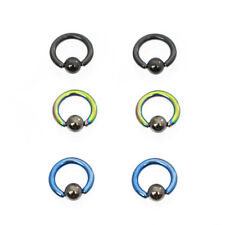 Anodized Titanium with Hematite Ball 14g Mini Captive Ring Pack of 6 Colorful