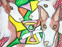 IBIZAN HOUND Drinking a Martini 8 x 10 Dog Pop Art Giclee Print Signed by Artist