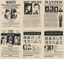 POSTERS WANTED MOB MAFIA FBI HOOVER BUGSY SIEGEL GAMBINO CAPONE GANG ROB BANK