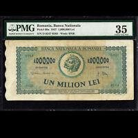 Romania Banca Nationala 1,000,000 Lei 1947 PMG 35 Choice Very Fine P-60a