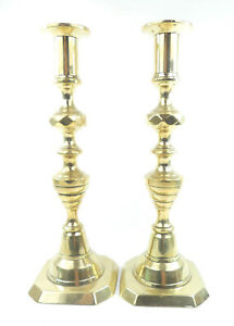 Pair Of Brass Antique / Vintage Brass Candle Sticks / Holders. Height 25cm