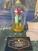 Disney Parks Beauty and The Beast Light Up Red Rose Christmas Ornament New