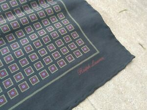 Ralph Lauren Purple Label Purple Cube Silk Hand Rolled Pocket Square Made In...