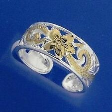 Sterling Silver Gold GF Carved Frangipani Scroll Toe Ring 925 8mm Wide Hawaiian