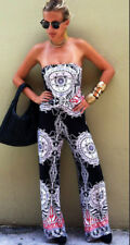 Women BOHO Floral Off Shoulder Strapless Playsuit Jumpsuit Romper Long Pants USA