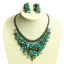 "NE110-131 Crystal & Glass Beads Turquoise 18"" Strand Drops Necklace Earring Set"
