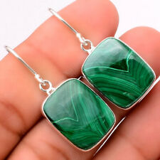 Natural Malachite Eye - Congo 925 Sterling Silver Earrings Jewelry 5210