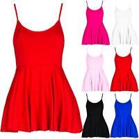 Womens Strappy Peplum Camisole Skater Swing Plain Sleeveless Flared Vest Top