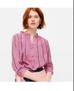 J.Crew $80 Ruffleneck Classic Popover Shirt in Pink Shadow Stripe Size L AB598