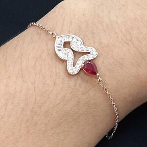 1.30ctw Mozambique Ruby & Diamond Cut White Sapphire 14K Rose Gold 925 Bracelet
