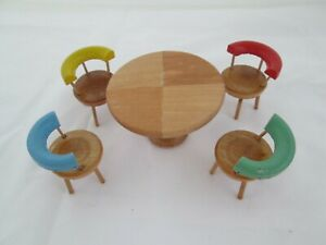 Dollhouse Mid Century oak style table + 4 chairs from USSR Occupied Germany
