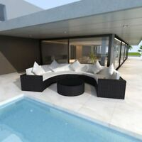 vidaXL Outdoor Garden Half-round Sofa Set Poly Rattan Wicker Black Lounge
