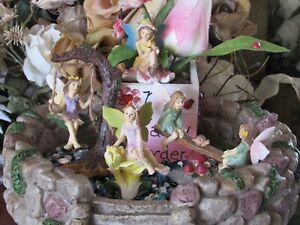 SALE 5 Fairy Garden miniature Fairy figurines on Swing, Teeter totter New in Box