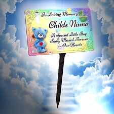 Personalised Baby Boy Memorial Plaque & Stake. Waterproof, for garden, grave etc