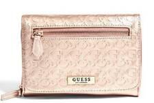 GUESS Women's Dahlia Logo Embossed Mini Crossbody Clutch Purse Wallet Rosegold
