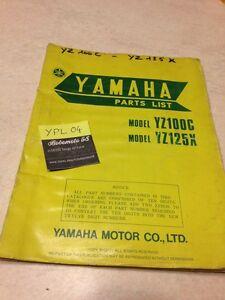 Yamaha Piezas List YZ100C 1J4 YZ125X 1G8 YZ100 YZ125 Catálogo Piezas Repuesto