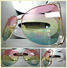 OVERSIZED VINTAGE RETRO Style SUN GLASSES Rose Gold Frame Pink Yellow Green Lens