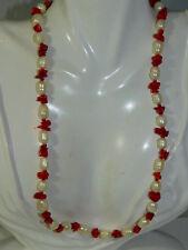 """Rojo Vivo Chip Coral Blanco Abalorios Perlas Hilos 20"""" Collar 3i 6"""