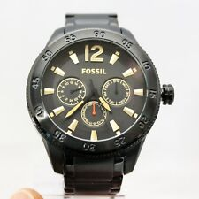 New FOSSIL BQ2173 Multi-Function Gun-Metal Black Stainless Steel Watch for Men