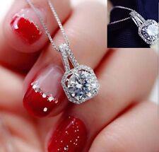 Vintage Womens Rhinestone Square Crystal Pendant Box Chain Necklace Choker Hot