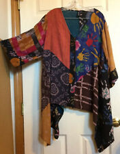 Sacred Threads Women Boho Tunic Top Art-to-Wear Slinky Rayon Button Down Plus XL