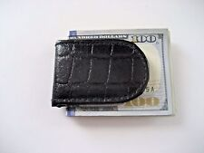 Mens Magnetic Slim Genuine leather money clip Black Croc texture Free Ship NWT