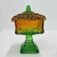 Vintage Imperial Glass Candy Bowl With Lid Pedestal Base