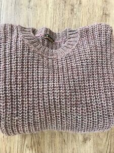 Traditional 100% Wool Pink Chunky Knit Crew Neck Fisherman Jumper Size XS 6/8