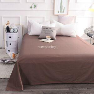 Egyptian Cotton Bed Flat Sheet Premium Top Sheet Full Queen King Plain Color