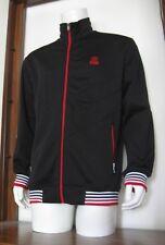 S Men ECKO UNLTD. Full-Zip Track Jacket Black White Red Cotton Poly small EUC