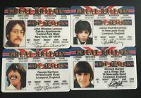 4 Beatles John Paul George Ringo Drivers Licenses ID Rock Music Lennon McCartney
