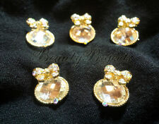 (5pcs) beautiful gold bow with crystal rhinestones for nail art charms & designs
