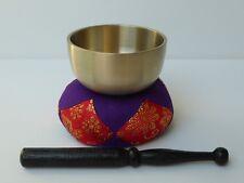 "Japanese Meditation Buddhist Butsudan Handmade 2.7"" Brass Bowl Singing Bell Set"