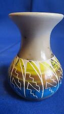 Authentic Navajo Horse Hair Fired Hand Etched Sun & Water Pottery Vase Tsosie