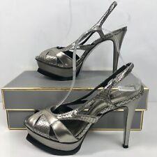 Womens Open Toe Platform Heels Peep Toe size 8B BEBE Sling Back Silver high heel