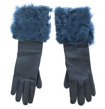NWT $960 DOLCE & GABBANA Blue Lambskin Leather Fur Logo Wrist Gloves s. 8 / M