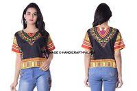 Femmes Africain Dashiki Imprimé T-Shirts Coton Manches Courtes Haut Chemisier