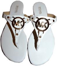 Michael Kors Mackenzie White Saffiano Leather Thong Sandal Flat Shoe 11