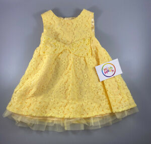 NEW baby girls pretty yellow dress bow party summer lace wedding special toddler
