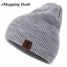 Warm Beanie Knit Hat Pull On Casual Men Women Knitted Solid Winter Cap Colours